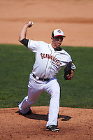 Erie Seawolves pitcher Chad Green (18) delivers a pitch during a game against the Harrisburg Senators on August 30, 2015 at Jerry Uht Park in Erie, Pennsylvania.  Harrisburg defeated Erie 4-3.  (Mike Janes/Four Seam Images)