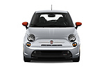 Car photography straight front view of a 2019 Fiat 500e Battery-Electric 3 Door Hatchback Front View