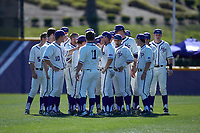 The High Point Panthers huddle up prior to the game against the NJIT Highlanders at Williard Stadium on February 19, 2017 in High Point, North Carolina. The Panthers defeated the Highlanders 6-5. (Brian Westerholt/Four Seam Images)