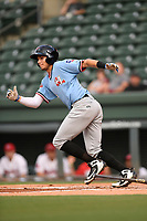 Second baseman Kole Enright (22) of the Hickory Crawdads runs out a batted ball during a game against the Greenville Drive on Monday, August 20, 2018, at Fluor Field at the West End in Greenville, South Carolina. Hickory won, 11-2. (Tom Priddy/Four Seam Images)