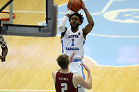 CHAPEL HILL, NC - FEBRUARY 1: Leaky Black #1 of the University of North Carolina shoots the ball during a game between Boston College and North Carolina at Dean E. Smith Center on February 1, 2020 in Chapel Hill, North Carolina.
