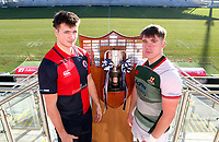 Monday 27th January 2020 | Ulster Schools' Cup Draw<br /> <br /> Ballyclare High School captain Jack Gamble and Friends School Lisburn captain Jack Hurte at the draw for the Ulster Schools' Cup Quarter Finals held at Kingspan Stadium, Ravenhill Park, Belfast, Northern Ireland. Fixtures to be played on or before 8 Feb 2020.  Photo credit - John Dickson DICKSONDIGITAL