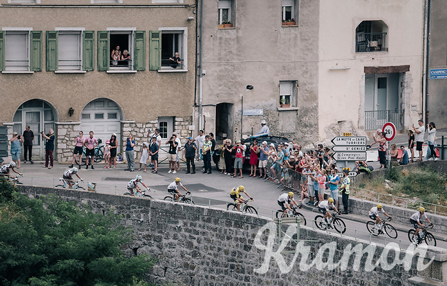 The Chris Froome (GBR/SKY) train coming through the town of Sisteron<br /> <br /> 104th Tour de France 2017<br /> Stage 19 - Embrun › Salon-de-Provence (220km)
