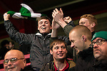 © Joel Goodman - 07973 332324 . 14/11/2015 . Manchester , UK . Celtic supporters amongst the FC United supporters . FC United host Gainsborough Trinity in the National League North at Broadhurst Park . NB requested changing room access three times and was denied three times . Photo credit : Joel Goodman
