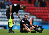 11th September 2021; Ewood Park, Blackburn, Lancashire England; EFL Championship football, Blackburn Rovers versus Luton Town; referee Oliver Langford is unable to continue after sustaining an injury