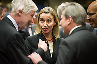 Finnish Foreign Minister Erkki (L), Federica Mogherini , EU High representative for foreign policy (C) and Johannes Hahn , EU commissioner for Neighbourhood policy and enlargement  prior to the European Union Foreign Ministers Council at EU headquarters  in Brussels, Belgium on 29.01.2015 Federica Mogherini , EU High representative for foreign policy called extraordinary meeting on the situation in Ukraine after the attack on Marioupol.  by Wiktor Dabkowski
