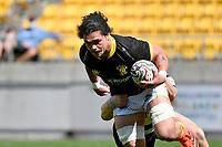 Du'Plessis Kirifi of Wellington is tackled during the Bunnings NPC - Wellington v Hawke's Bay at Sky Stadium, Wellington, New Zealand on Sunday 26 September 2021.<br /> Photo by Masanori Udagawa. <br /> www.photowellington.photoshelter.com