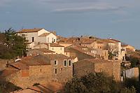 Village and Chateau de La Liquiere Faugeres. Languedoc. France. Europe.