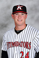 Kannapolis Intimidators pitcher Matt Foster (24) poses for a photo prior to the game against the Delmarva Shorebirds at Kannapolis Intimidators Stadium on July 2, 2017 in Kannapolis, North Carolina.  The Shorebirds defeated the Intimidators 5-4.  (Brian Westerholt/Four Seam Images)