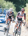 Rafal Majka (POL) UAE Team Emirates and Fabio Aru (ITA) Team Qhubeka NextHash in the breakaway during Stage 15 of La Vuelta d'Espana 2021, running 197.5km from Navalmoral de la Mata to El Barraco, Spain. 29th August 2021.     <br /> Picture: Charly Lopez/Unipublic | Cyclefile<br /> <br /> All photos usage must carry mandatory copyright credit (© Cyclefile | Unipublic/Charly Lopez)