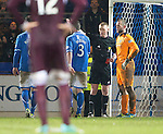 St Johnstone v Hearts.....18.01.14   SPFL<br /> Alan Mannus is sent off<br /> Picture by Graeme Hart.<br /> Copyright Perthshire Picture Agency<br /> Tel: 01738 623350  Mobile: 07990 594431