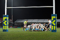 General view of a scrum on the Bath Rugby line during the LV= Cup match between Exeter Chiefs and Bath Rugby at Sandy Park Stadium on Sunday 5th February 2012 (Photo by Rob Munro)