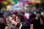 © Joel Goodman - 07973 332324 . 26/08/2016 . Manchester , UK . Revellers on Canal Street in Manchester's Gay Village for 2016 Manchester Gay Pride Big Weekend . Photo credit : Joel Goodman