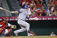Alex Gordon of the Kansas City Royals during a game against the Los Angeles Angels in a 2007 MLB season game at Angel Stadium in Anaheim, California. (Larry Goren/Four Seam Images)