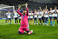 30th August 2020. Sydney, Australia;  Andrew Redmayne Front, goalkeeper of Sydney FC celebrates during the awarding ceremony for the 2019/2020 season A-League in Sydney, Australia. Sydney FC claimed a historic fifth A-League crown after beating Melbourne City 1-0 in the Grand Final of A-League on Sunday night.