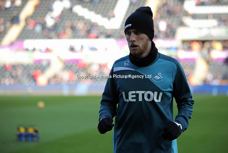 Oliver McBurnie of Swansea City warms up during the Premier League match between Swansea City and Brighton and Hove Albion at The Liberty Stadium, Swansea, Wales, UK. Saturday 04 November 2017