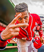 21 June 2015: Washington Nationals infielder Yunel Escobar clowns around in the dugout during a game against the Pittsburgh Pirates at Nationals Park in Washington, DC. The Nationals defeated the Pirates 9-2 to sweep their 3-game weekend series, and improve their record to 37-33. Mandatory Credit: Ed Wolfstein Photo *** RAW (NEF) Image File Available ***