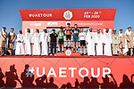 The finish podium of Stage 3 The Emirates Stage of the UAE Tour 2020 running 184km from Al Qudra Cycle Track to Jebel Hafeet, Dubai. 25th February 2020.<br /> Picture: LaPresse/Fabio Ferrari | Cyclefile<br /> <br /> All photos usage must carry mandatory copyright credit (© Cyclefile | LaPresse/Fabio Ferrari)