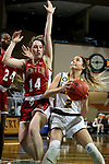 SIOUX FALLS, SD - MARCH 7: Kylie Strop #2 of the North Dakota State Bison looks to the basket past Rowan Hein #14 of the Denver Pioneers during the Summit League Basketball Tournament at the Sanford Pentagon in Sioux Falls, SD. (Photo by Dave Eggen/Inertia)