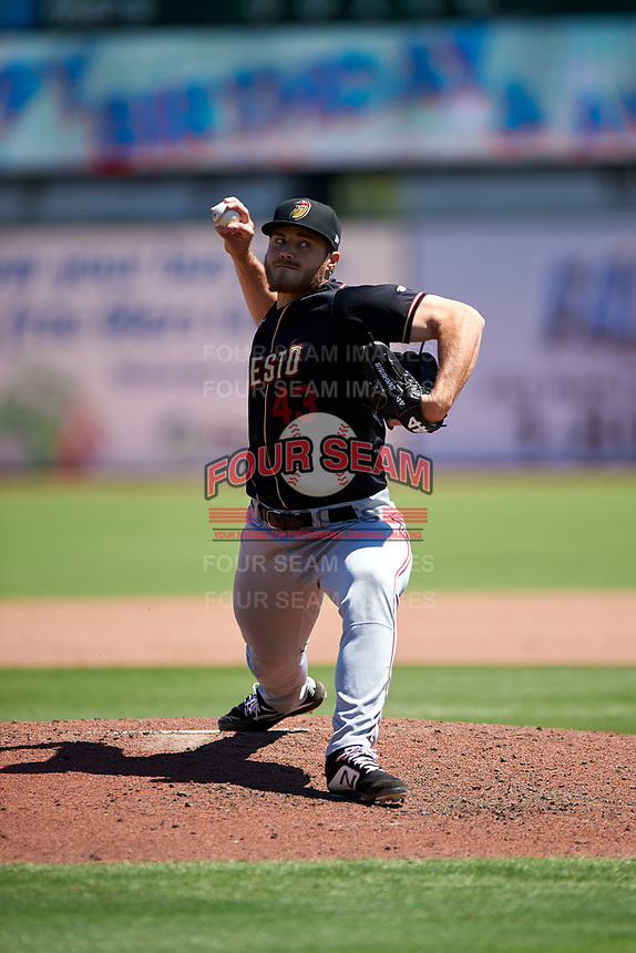 Modesto Nuts relief pitcher Jake Haberer (43) during a California League game against the Inland Empire 66ers on April 10, 2019 at San Manuel Stadium in San Bernardino, California. Inland Empire defeated Modesto 5-4 in 13 innings. (Zachary Lucy/Four Seam Images)