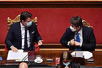 The Italian Premier Giuseppe Conte and the minister of Culture Renato Franceschini during the information at the Senate about the government crisis..<br /> Rome(Italy), January 19th 2021<br /> Photo Pool Alessandro Di Meo/Insidefoto