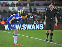 SWANSEA, WALES - JANUARY 17:   of  during the Barclays Premier League match between Swansea City and Chelsea at Liberty Stadium on January 17, 2015 in Swansea, Wales. Football skills being show off at half time