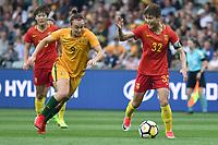 26 November 2017, Melbourne - MA JUN (32) of China PR reacts during an international friendly match between the Australian Matildas and China PR at GMHBA Stadium in Geelong, Australia.. Australia won 5-1. Photo Sydney Low