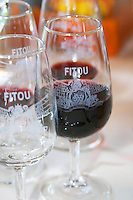 Fitou. Languedoc. ISO standard shape wine tasting glass. France. Europe.