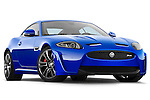 Low aggressive passenger side view of a 2012 Jaguar XKR-S Coupe.