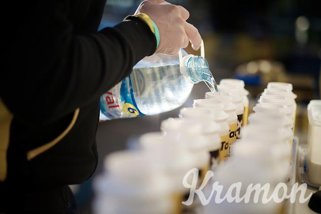 filling bidons, lots of them<br /> <br /> Team Lotto Jumbo winter training camp<br /> Mojácar, Spain, January 2015