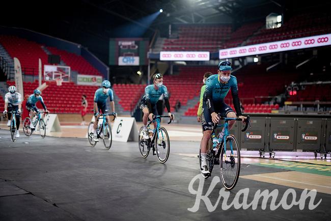 Team presentation for Astana - Premier Tech inside the Spirou Basketbal Dome<br /> <br /> 85th La Flèche Wallonne 2021 (1.UWT)<br /> 1 day race from Charleroi to the Mur de Huy (BEL): 194km<br /> <br /> ©kramon