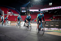 Team presentation for Astana - Premier Tech inside the Spirou Basketbal Dome<br /> <br /> 85th La Flèche Wallonne 2021 (1.UWT)<br /> 1 day race from Charleroi to the Mur de Huy (BEL): 194km<br /> <br /> ©kramon