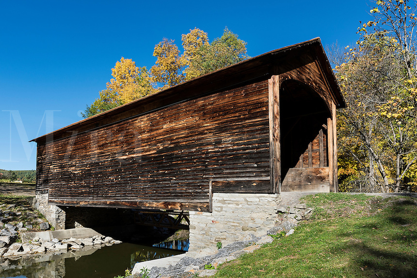 Hyde Hall covered bridge is the oldest existing covered bridge in the United States, Glimmerglass State Park, New York, USA