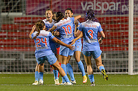 Chicago, IL - Saturday Sept. 24, 2016: Christen Press goal celebration during a regular season National Women's Soccer League (NWSL) match between the Chicago Red Stars and the Washington Spirit at Toyota Park.