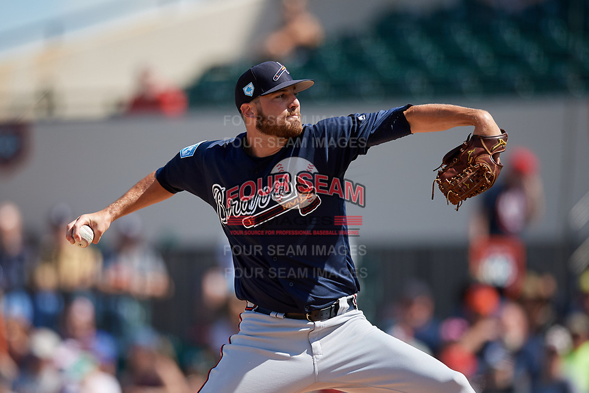 Atlanta Braves relief pitcher Chad Sobotka (61) delivers a pitch during a Grapefruit League Spring Training game against the Detroit Tigers on March 2, 2019 at Publix Field at Joker Marchant Stadium in Lakeland, Florida.  Tigers defeated the Braves 7-4.  (Mike Janes/Four Seam Images)