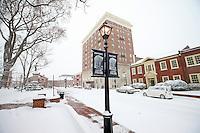 Snow covered court square in Charlottesville, Va.