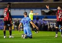 2nd October 2020; St Andrews Stadium, Coventry, West Midlands, England; English Football League Championship Football, Coventry City v AFC Bournemouth; Ben Sheaf of Coventry City on his knees looking at Referee Jarred Gillet as he points to the penalty spot.
