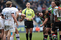 20130309 Copyright onEdition 2013©.Free for editorial use image, please credit: onEdition..Referee Leighton Hodges during the LV= Cup semi final match between Harlequins and Bath Rugby at The Twickenham Stoop on Saturday 9th March 2013 (Photo by Rob Munro)..For press contacts contact: Sam Feasey at brandRapport on M: +44 (0)7717 757114 E: SFeasey@brand-rapport.com..If you require a higher resolution image or you have any other onEdition photographic enquiries, please contact onEdition on 0845 900 2 900 or email info@onEdition.com.This image is copyright onEdition 2013©..This image has been supplied by onEdition and must be credited onEdition. The author is asserting his full Moral rights in relation to the publication of this image. Rights for onward transmission of any image or file is not granted or implied. Changing or deleting Copyright information is illegal as specified in the Copyright, Design and Patents Act 1988. If you are in any way unsure of your right to publish this image please contact onEdition on 0845 900 2 900 or email info@onEdition.com