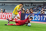 Shanghai FC Defender Fu Huan (L) fights for the ball with Jiangsu FC Defender Li Ang (R) during the AFC Champions League 2017 Round of 16 match between Shanghai SIPG FC (CHN) vs Jiangsu FC (CHN) at the Shanghai Stadium on 24 May 2017 in Shanghai, China. Photo by Marcio Rodrigo Machado / Power Sport Images