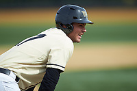 Bruce Steel (17) of the Wake Forest Demon Deacons stands on third base during the game against the Notre Dame Fighting Irish at David F. Couch Ballpark on March 10, 2019 in  Winston-Salem, North Carolina. The Demon Deacons defeated the Fighting Irish 7-4 in game one of a double-header.  (Brian Westerholt/Four Seam Images)