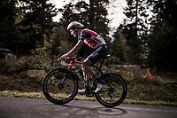 Niklas Eg (DEN/Trek-Segafredo) on the steep parts of the individual time trial up the infamous Planche des Belles Filles<br /> <br /> Stage 20 (ITT) from Lure to La Planche des Belles Filles (36.2km)<br /> <br /> 107th Tour de France 2020 (2.UWT)<br /> (the 'postponed edition' held in september)<br /> <br /> ©kramon