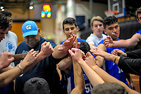 The Auckland team huddles during the 2017 national under-19 basketball championship tournament men's final between Canterbury and Auckland at The North Shore Events Centre in Hillcrest, Auckland, New Zealand on Tuesday, 6 June 2017. Photo: Dave Lintott / lintottphoto.co.nz
