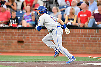 Kingsport Mets Scott Ota (11) runs to first base during a game against the Johnson City Cardinals at TVA Credit Union Ballpark on June 28, 2019 in Johnson City, Tennessee. The Cardinals defeated the Mets 7-4. (Tony Farlow/Four Seam Images)