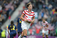 Glasgow, Scotland - Saturday, July 28, 2012:  Abby Wambach of the USA Women's soccer team celebrates after scoring a goal during a 3-0 win over Colombia in the first round of the Olympic football tournament at Hamden Park.