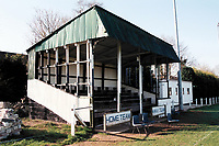 The main stand at Ottery St Mary FC Football Ground, Washbrook Meadows, Ottery St Mary, Devon, pictured on 30th March 1997
