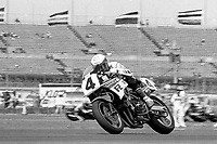 Eddie Lawson, #4 Yamaha, races to victory, Daytona 200, AMA Superbikes, Daytona International Speedway, Daytona Beach, FL, March 9, 1986.(Photo by Brian Cleary/bcpix.com)