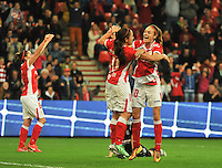 20131009 - LIEGE , BELGIUM :  Standard pictured celebrating their goal with goalscorer Vanity Lewerissa (11) and Standard's Tessa Wullaert (10) during the female soccer match between STANDARD Femina de Liege and GLASGOW City LFC , in the 1/16 final ( round of 32 ) first leg in the UEFA Women's Champions League 2013 in stade Maurice Dufrasne - Sclessin in Liege. Wednesday 9 October 2013. PHOTO DAVID CATRY