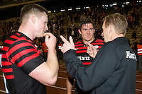 20121020 Copyright onEdition 2012©.Free for editorial use image, please credit: onEdition..Mark McCall, Saracens Director of Rugby, chats with Chris Ashton (left) and Alex Goode after during the Heineken Cup Round 2 match between Saracens and Racing Metro 92 at the King Baudouin Stadium, Brussels on Saturday 20th October 2012 (Photo by Rob Munro)..For press contacts contact: Sam Feasey at brandRapport on M: +44 (0)7717 757114 E: SFeasey@brand-rapport.com..If you require a higher resolution image or you have any other onEdition photographic enquiries, please contact onEdition on 0845 900 2 900 or email info@onEdition.com.This image is copyright the onEdition 2012©..This image has been supplied by onEdition and must be credited onEdition. The author is asserting his full Moral rights in relation to the publication of this image. Rights for onward transmission of any image or file is not granted or implied. Changing or deleting Copyright information is illegal as specified in the Copyright, Design and Patents Act 1988. If you are in any way unsure of your right to publish this image please contact onEdition on 0845 900 2 900 or email info@onEdition.com