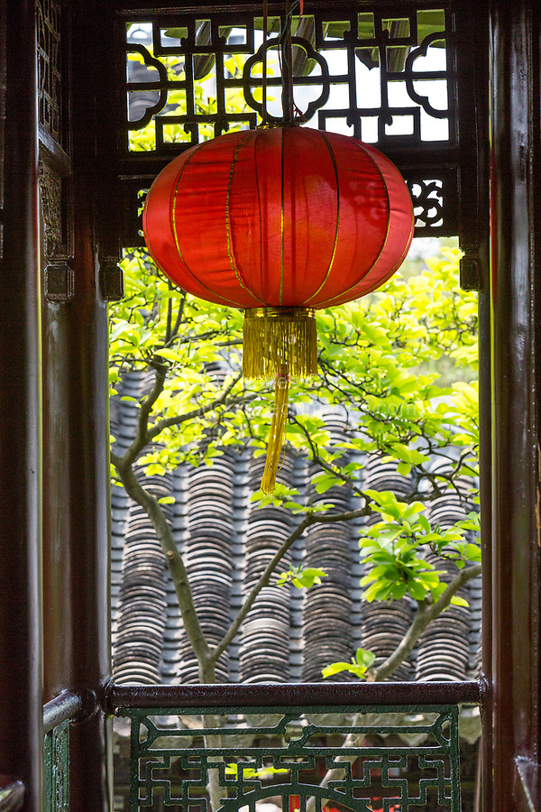Yangzhou, Jiangsu, China.  Red lantern, Ho Family House and Garden.
