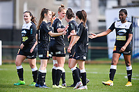 players of Aalst pictured celebrating after scoring a goal during a female soccer game between Eendracht Aalst and Sporting Charleroi on the 18 th and last matchday before the play offs of the 2020 - 2021 season of Belgian Scooore Womens Super League , Saturday 27 th of March 2021  in Aalst , Belgium . PHOTO SPORTPIX.BE | SPP | DAVID CATRY